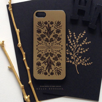 iPhone 5 Gold Metallic Case, iPhone 5s Black Floral Case, iPhone 4 Flower Case, iPhone 4s Case, Floral iPhone Case, TOUGH iPhone Cover M1