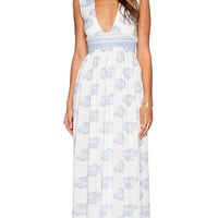 FAITHFULL THE BRAND Night Orchard Maxi Dress in White