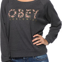 Obey Women's Floral Worldwide Charcoal Raglan Top