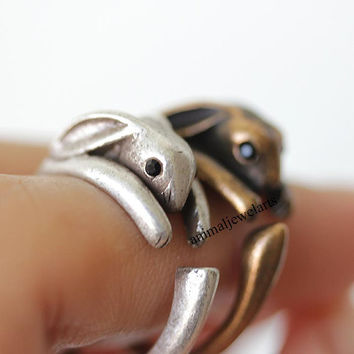 rabbit, rabbit ring, bunny, bunny ring, animal ring, animal wrap ring, animal jewelry, man ring, burnished ring, retro ring