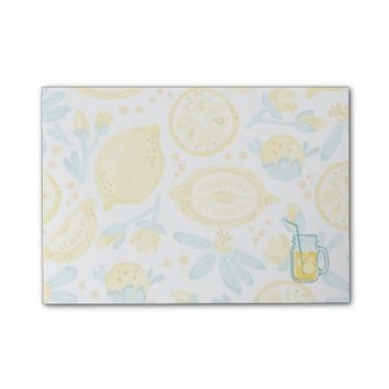 Yellow Lemons & Blue Flowers Illustrated Pattern Post-it® Notes