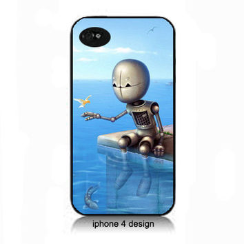 Unique Robot  iphone 4 case, Iphone case, Iphone 4s case, Iphone 4 cover, i phone case, i phone 4s case