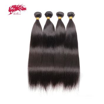 """Ali Queen Hair Products 4pcs Lot Natural Color 8""""~22"""" In Stock Indian Virgin Hair Straight Human Hair Weave Bundles"""
