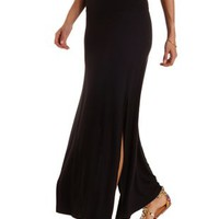 Black Double Slit Maxi Skirt by Charlotte Russe