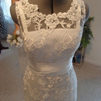 Super elegant French Lace Wedding Dress modified by SashCouture1