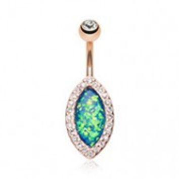 Rose Gold Opal Diamante Belly Button Ring