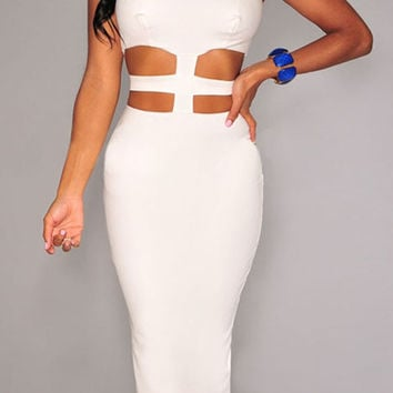 White Sleeveless Cut-out Bodycon Mid Dress