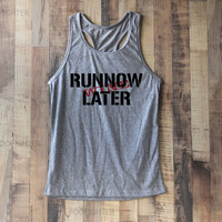 Run Now Wine Later Shirt Tank Top Racerback Racer back T Shirt Top – Size S M L
