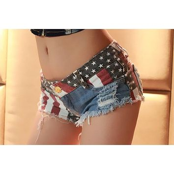 American Flag Denim Hot Pants