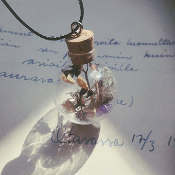 forest magic | witch bottle necklace - real plant necklace - glass vial pendant - witch necklace - witchcraft jewelry - forest fairy