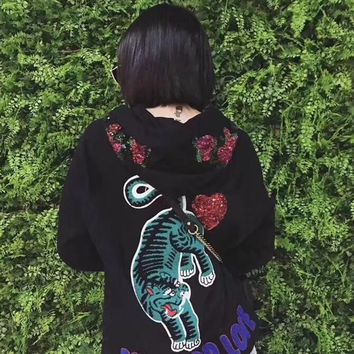 """Gucci"" Women Fashion Casual Sequins Flower Letter Tiger Embroidery Long Sleeve Hooded Sweater Tops"