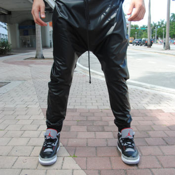 Light weight Leather Drop Crotch Pants for Men and Women // Handmade