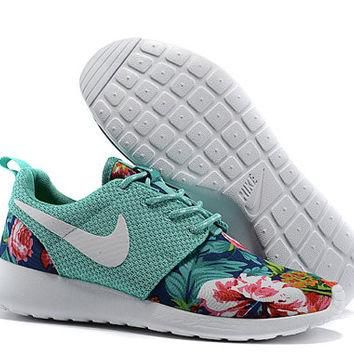 custom nike roshe run flyknit sneakers athletic womens shoes with fabric floral print