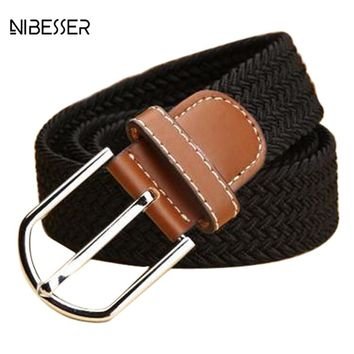 NIBESSER Fashion Men Women Braided Rope Belts Multi Color Elastic Buckle Leather Belts Homme Femme For Jeans Cowboy High Quality