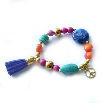 Multicolor Bohemian Bracelet, Tassel Bracelet, Beaded Stretch Bracelet, Summer Bracelet, Boho Bracelet, Colorful Gemstone Bracelet