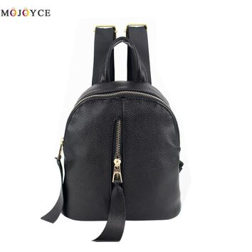 Personality Simple Style Women Backpack White and Black Lady Travel Leather Backpacks for Teenage Girls Rucksack Mochila