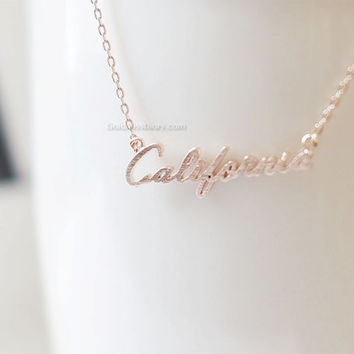 Rose Gold California necklace, California state necklace, , CA State Necklace, california monogram necklace