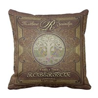 Custom Monogram Family Tree Throw Pillow