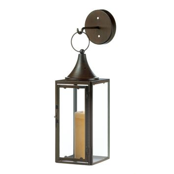 Candle Wall Sconce-Iron Stagecoach Lantern