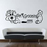 Wall Decals Quote Pet Grooming Decal Dog Comb Scissors Vinyl Sticker Pet-Shop Grooming Salon Home Decor Art Mural Ms274