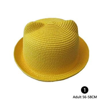 Summer Autumn Beach Women / Kid Folding Straw Cat Ear Devil Bowler Derby Sun Hat