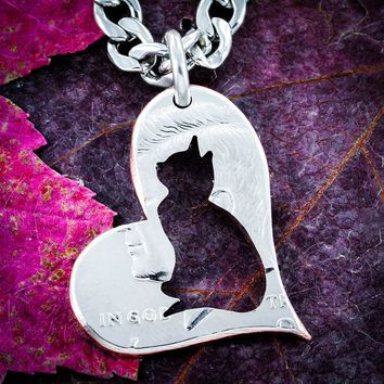 Cat Lovers, Cat in a heart, half dollar coin necklace by NameCoins