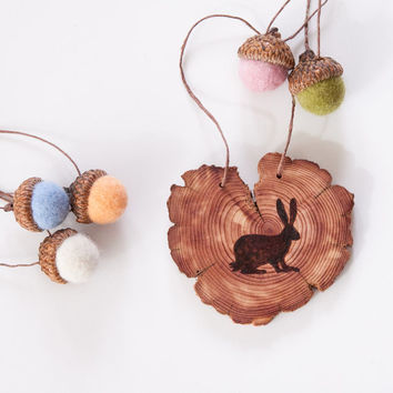 Wood Burned Rabbit on Cedar Heart.  Woodland Animal Ornament or wall hanging Easter Bunny with felted acorns in spring colors
