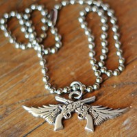 GUNS N' WINGS PENDANT NECKLACE - Junk GYpSy co.