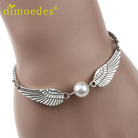 Best Deal 1PC Trendy New Silver Imitation Pearl Cute Angel Wings Jewelry Dove Peace Bracelet for Women Lady Beauty Perfect Gift