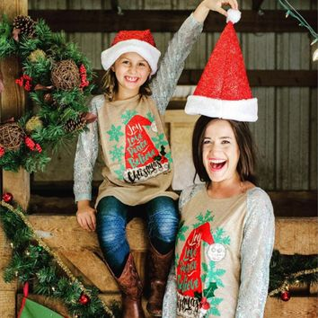 "Mother and Daughter Matching Christmas Tops ""Joy Love Peace Believe Christmas"""