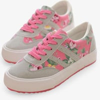 Casual Floral Pink Sneakers With Stripe