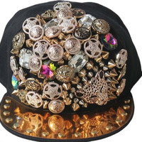 Hip-hop Spikes Spiky Rivets Studded Button Leopard Adjustable Cap Hat Snapback