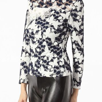 Casual High Neck Beading Lace Floral Printed Mesh Patchwork Blouse