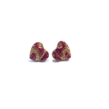 Polymer Clay Heart Stud Earrings. Red Hearts, Gold Painted Hearts, Heart Post. Red Jewelry. Handmade Jewelry