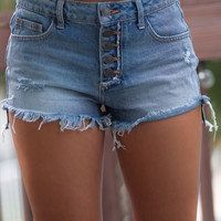 Del Ray Beach Medium Wash Distressed Denim Shorts
