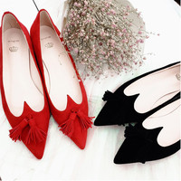 Summer Leather Pointed Toe Tassels Flat Sexy Pregnant Shoes [4919953924]