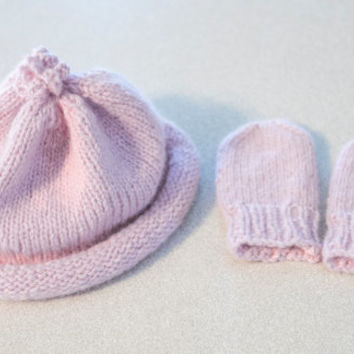 Light Pink Baby Hat and Mitten Set, Hand Knit, Angora & Lambswool yarn blend, size  0 - 6 month