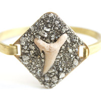 Fossilized Shark Tooth and Pyrite Cuff Bracelet