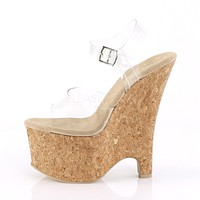"Beau 608 Cork Wedge Clear Strap - 6.5"" High Heel Shoes"