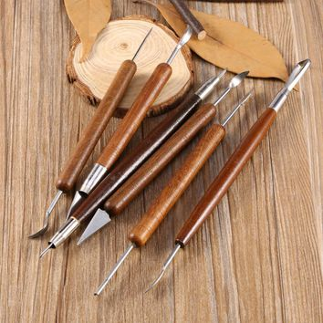 6pcs Clay Sculpting Set Wax Carving Pottery Tools Sculpt Smoothing Polymer Shapers Modeling Carved Tool Wood Handle Set