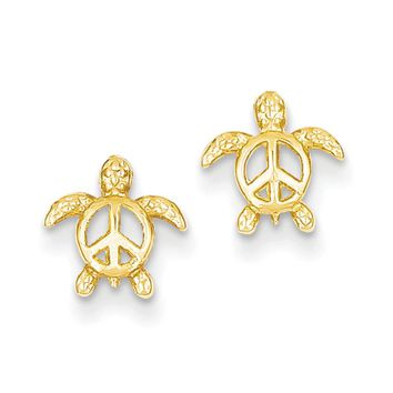 Kids 8mm Open Peace Sign Turtle Post Earrings in 14k Yellow Gold