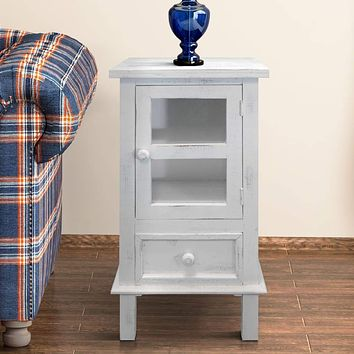 Single Door Wooden Side Accent Table with Drawer Storage, White By The Urban Port
