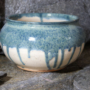 White and turquoise pot, decorative pottery, stoneware planter