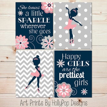 Ballerina Art Prints Nursery Wall Decor Girls Room Wall Art She Leaves a Little Sparkle Coral Navy Nursery Artwork Toddler Girls Room #0971