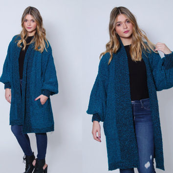 Vintage 80s SLOUCHY Cardigan Teal Oversized BOUCLE Sweater Knit Maxi Duster 80s Sweater