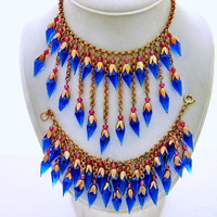 Art Deco Glass Bead Necklace Set, Fringe Style, Bracelet, Blue Faceted Point Dangles