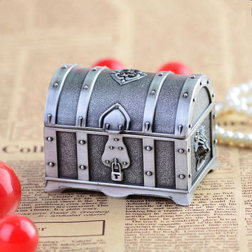 Pewter plated rectangular shape metal jewelry box trinket box money box