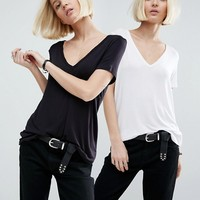ASOS The New Forever T-Shirt With Short Sleeves and Dip Back 2 Pack Save 10% at asos.com