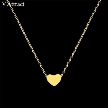 V Attract Women Jewelry Stainless Steel Chain Necklace Gold Color Dainty Tiny Heart Shaped Necklaces Pendants