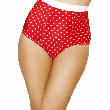 Roma USA Dance Rave Wear High Waist Shorts Red/White Dotted